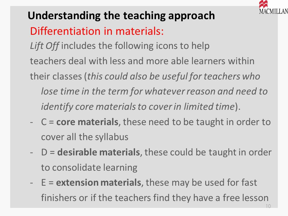 Understanding the teaching approach