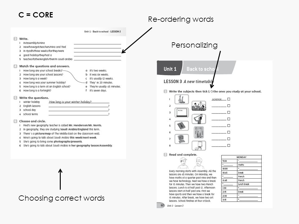 Choosing correct words