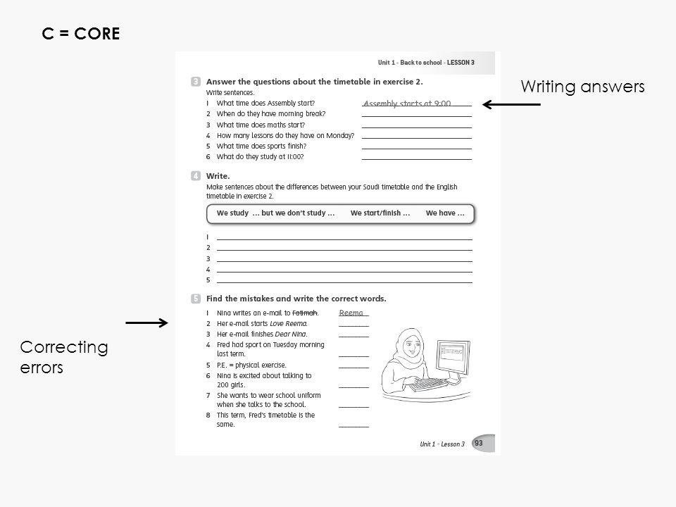 C = CORE Writing answers Personalizing WkBk Correcting errors