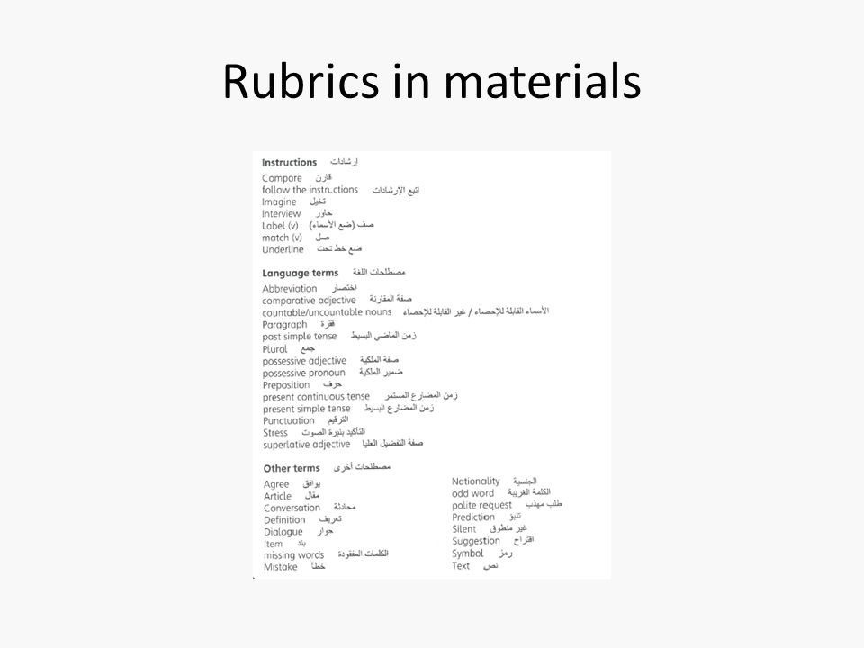 Rubrics in materials Arabic and English for useful classroom language at start of SB