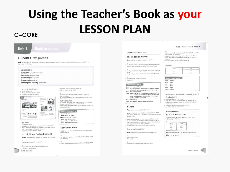 Using the Teacher's Book as your LESSON PLAN