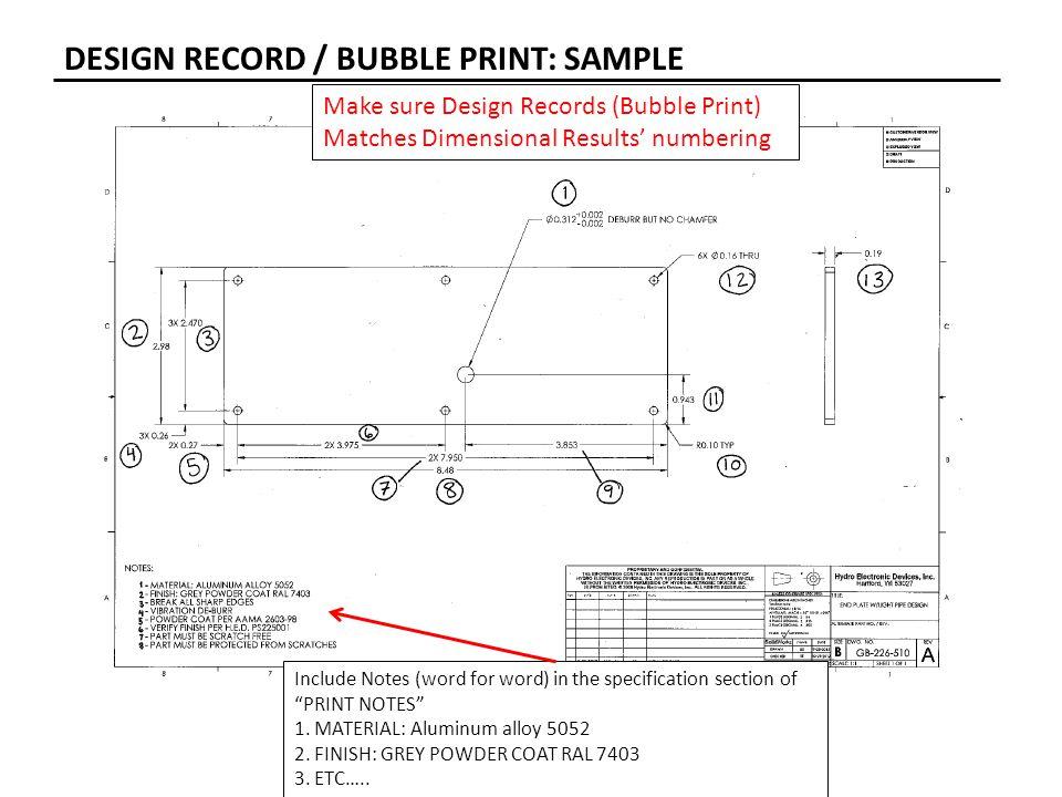 DESIGN RECORD / BUBBLE PRINT: SAMPLE