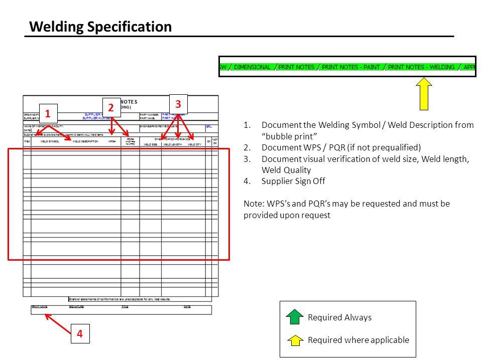 Welding Specification