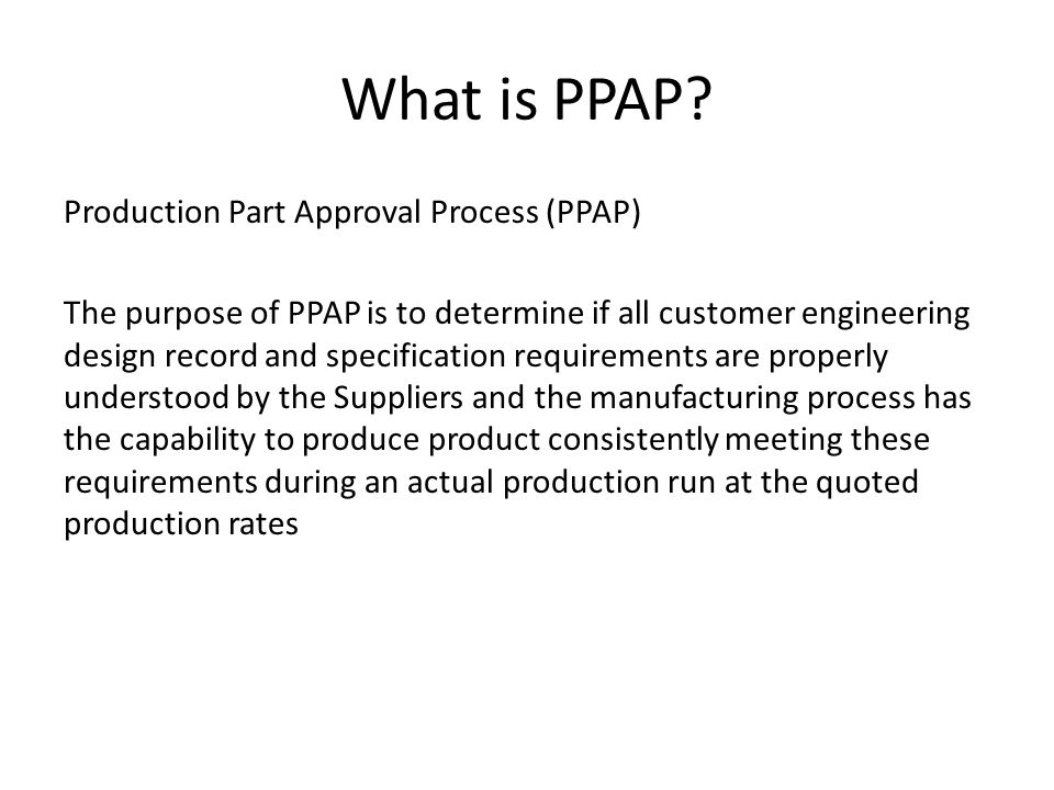 What is PPAP