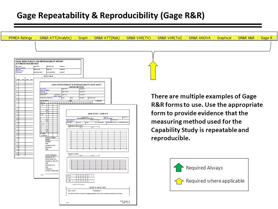 Gage Repeatability & Reproducibility (Gage R&R)