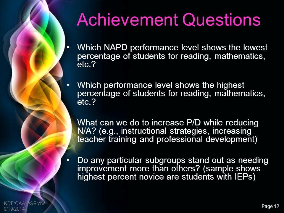 Achievement Questions