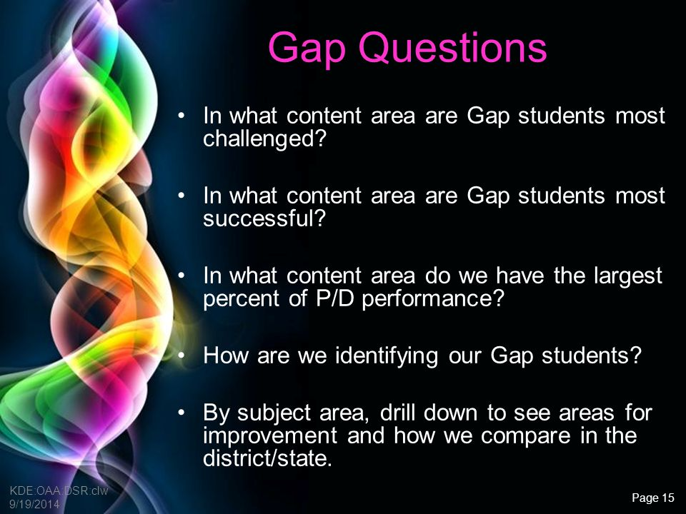 Gap Questions In what content area are Gap students most challenged