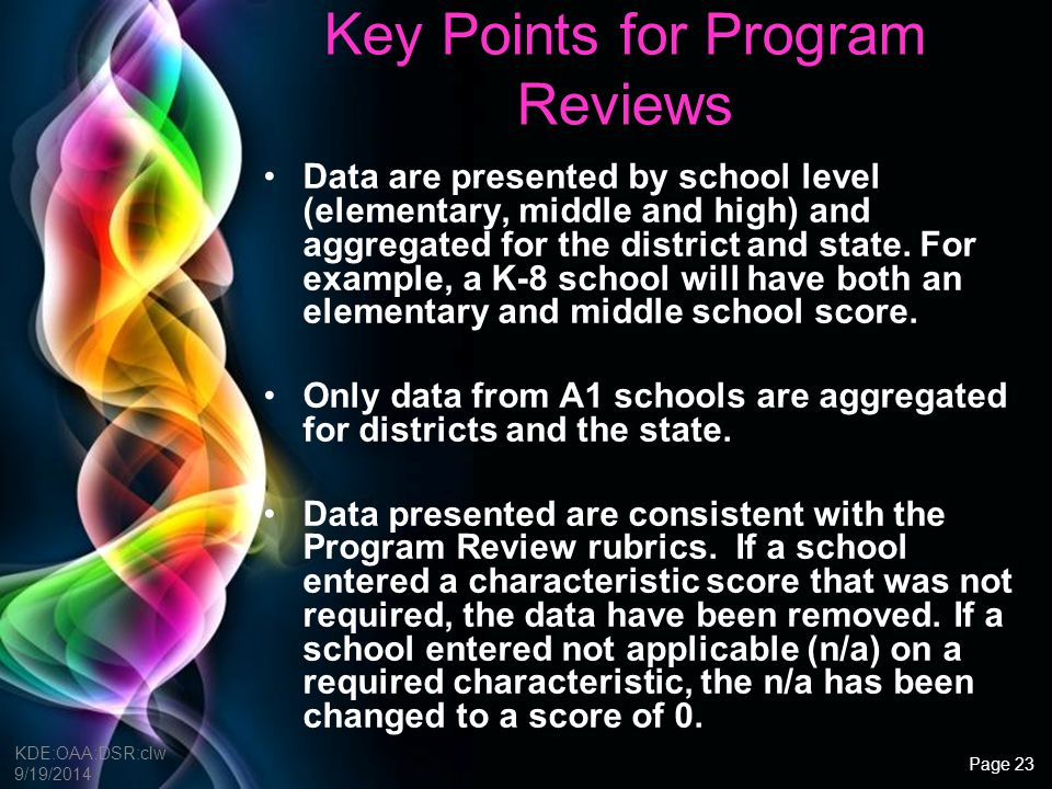 Key Points for Program Reviews
