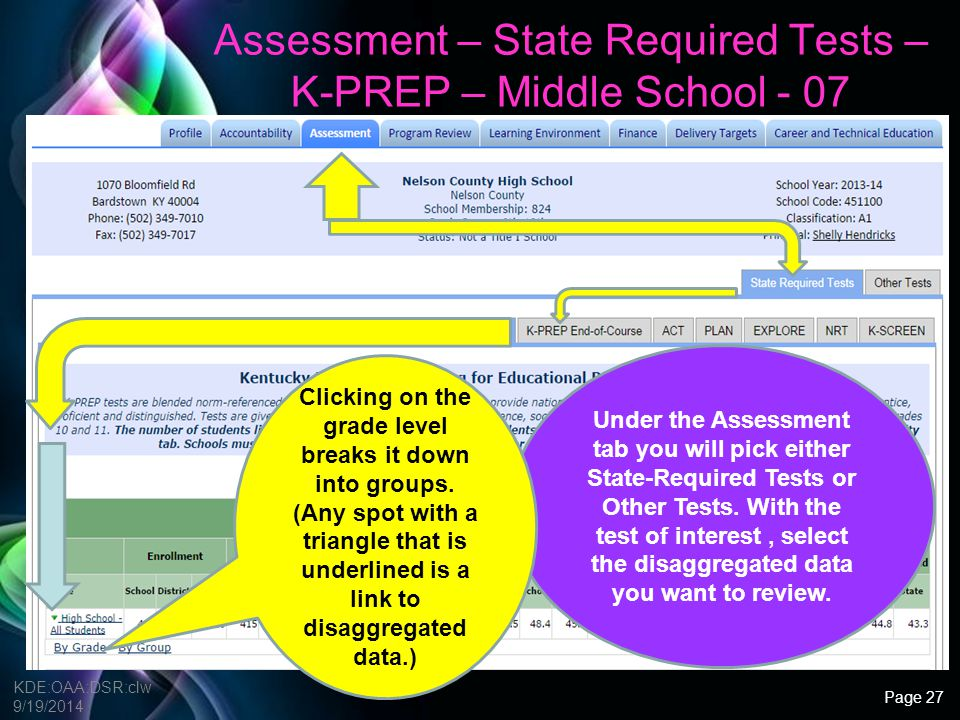 Assessment – State Required Tests – K-PREP – Middle School - 07