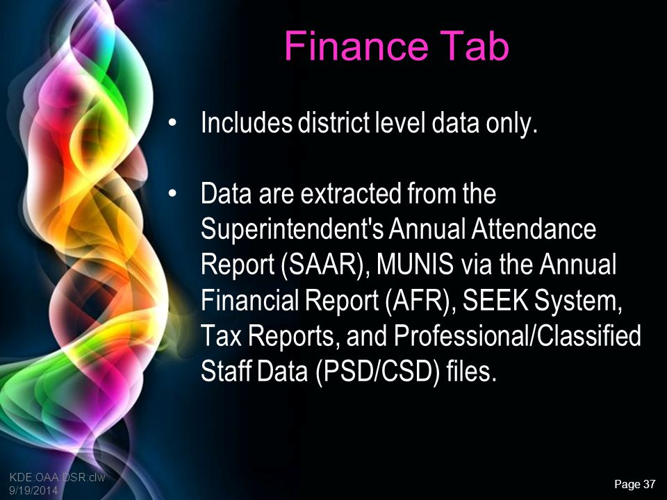 Finance Tab Includes district level data only.