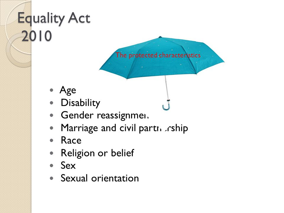 Equality Act 2010 Age Disability Gender reassignment