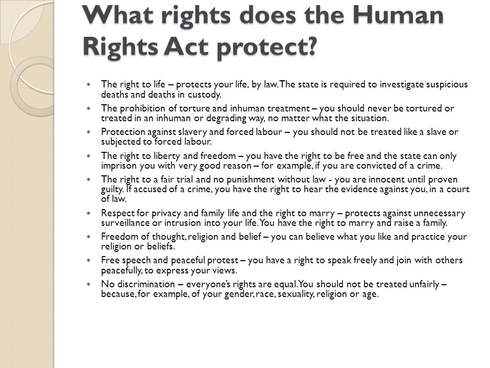What rights does the Human Rights Act protect