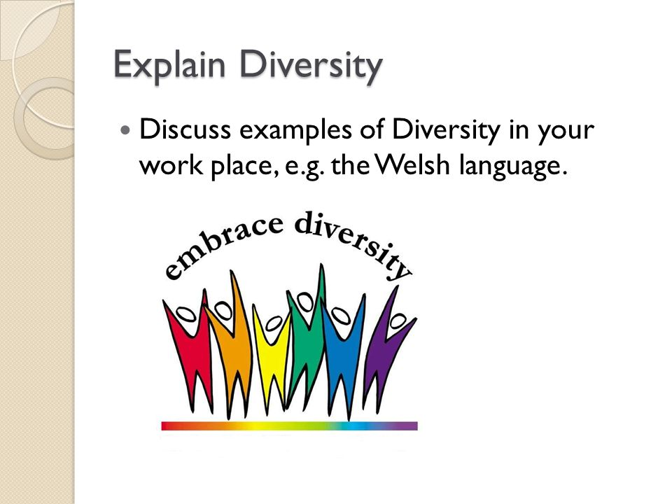 Explain Diversity Discuss examples of Diversity in your work place, e.g. the Welsh language.