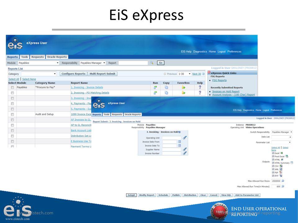 EiS eXpress www.eistech.com End user operational reporting