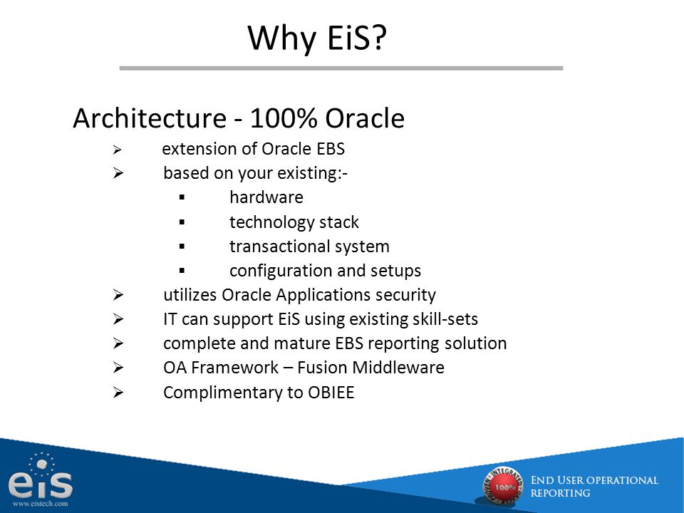 Why EiS Architecture - 100% Oracle based on your existing:- hardware
