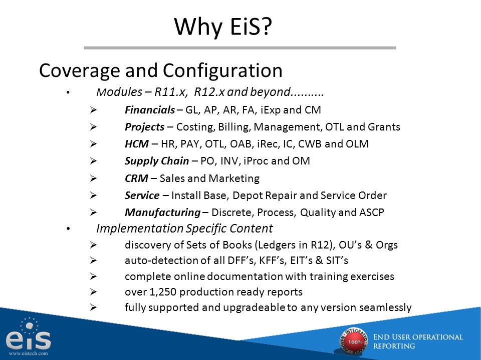Why EiS Coverage and Configuration Implementation Specific Content