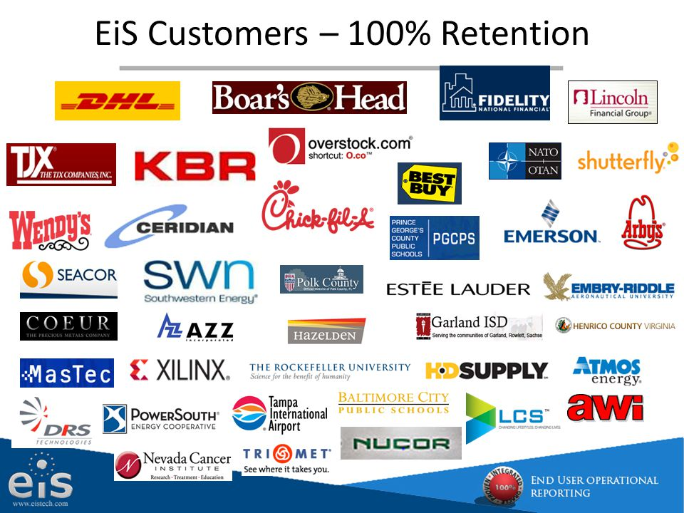 EiS Customers – 100% Retention
