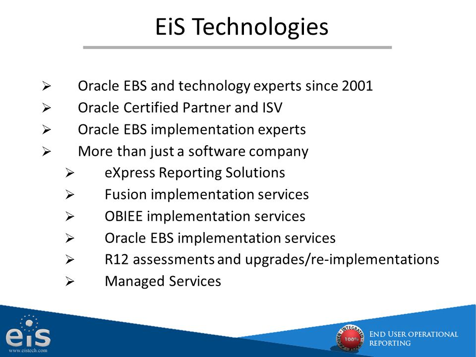 EiS Technologies Oracle EBS and technology experts since 2001