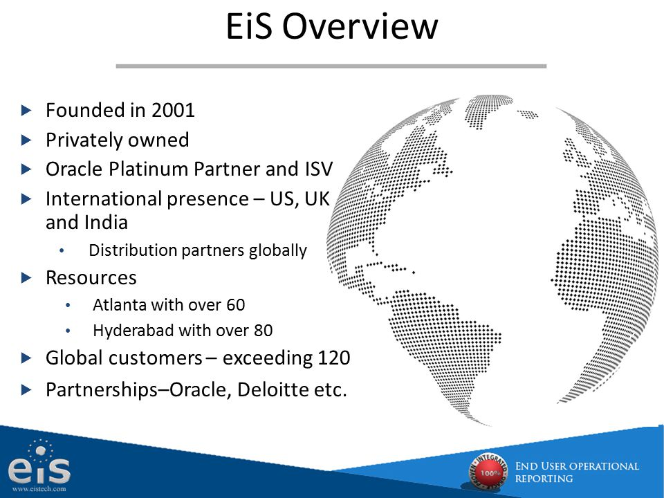 EiS Overview Founded in 2001 Privately owned
