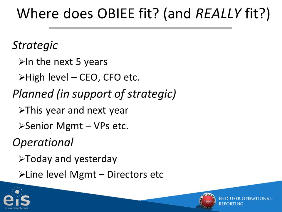 Where does OBIEE fit (and REALLY fit )