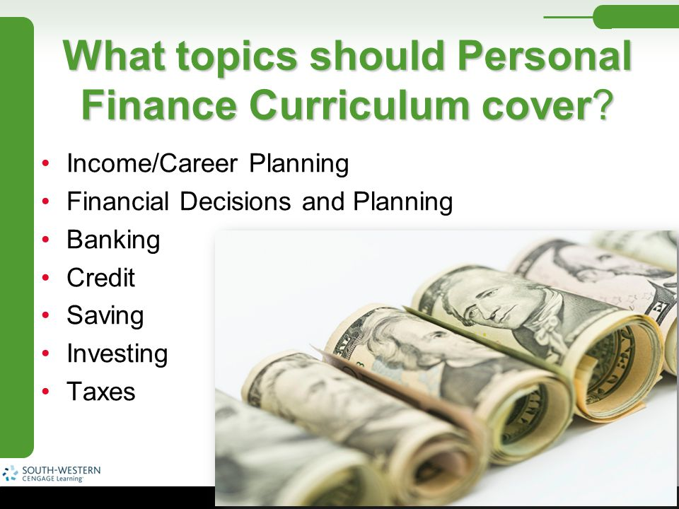 What topics should Personal Finance Curriculum cover
