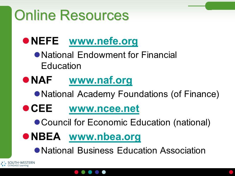 Online Resources NEFE www.nefe.org NAF www.naf.org CEE www.ncee.net