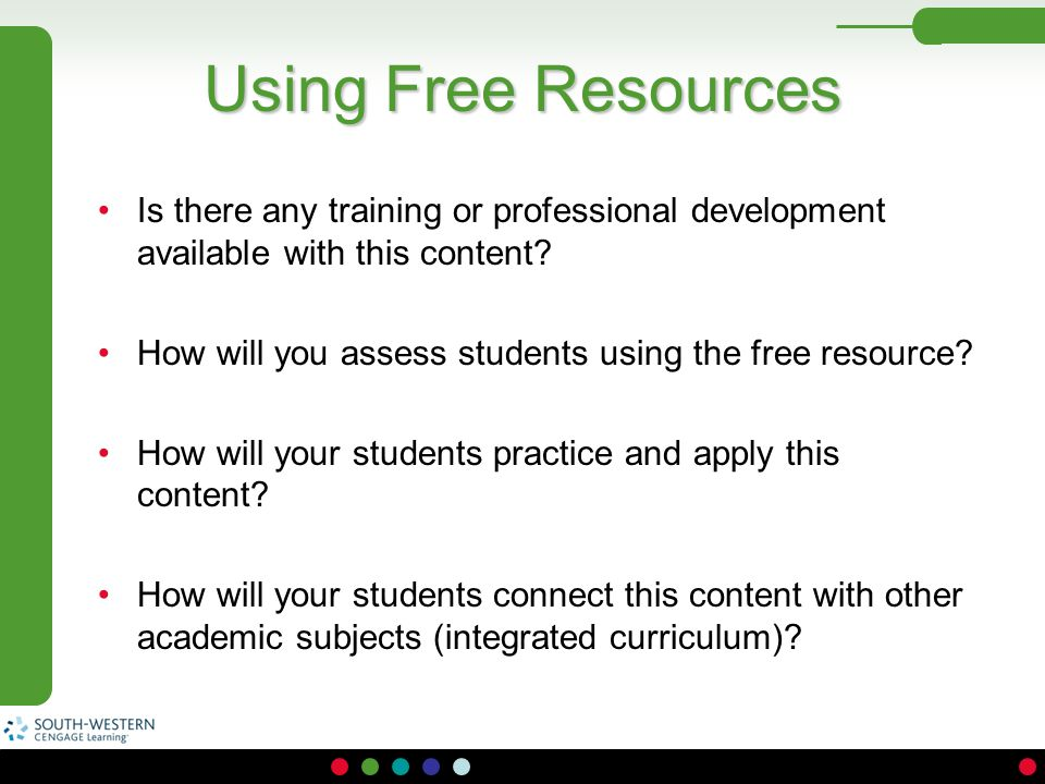 Using Free Resources Is there any training or professional development available with this content