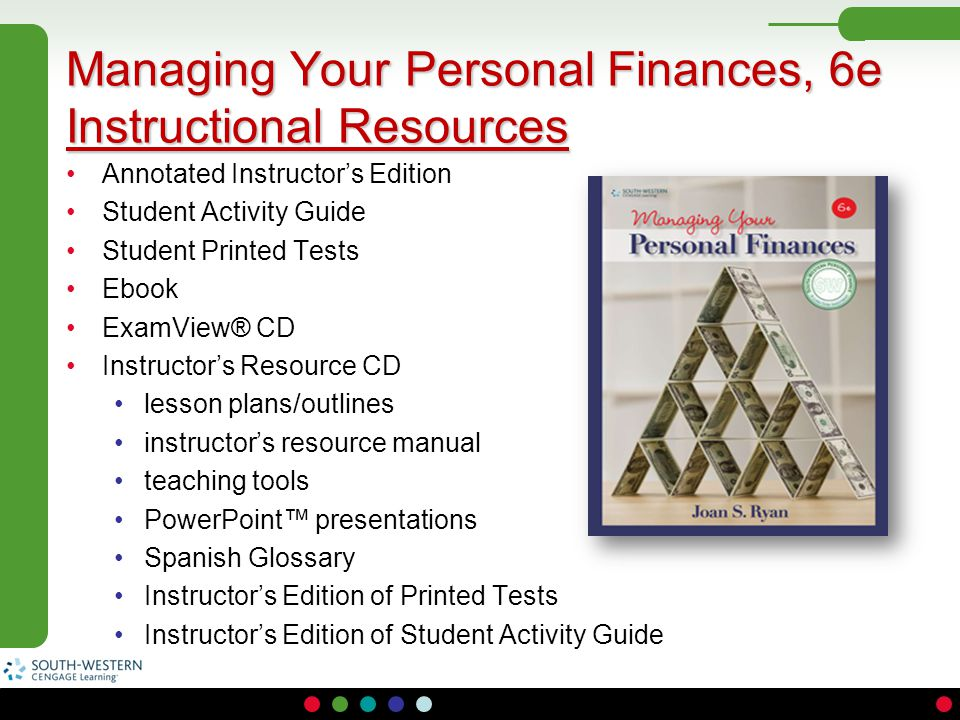 Managing Your Personal Finances, 6e Instructional Resources