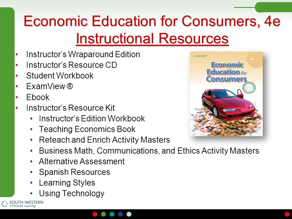 Economic Education for Consumers, 4e Instructional Resources