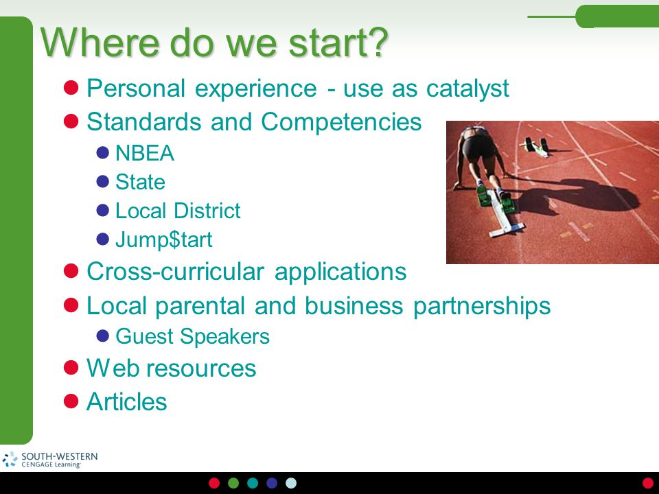 Where do we start Personal experience - use as catalyst