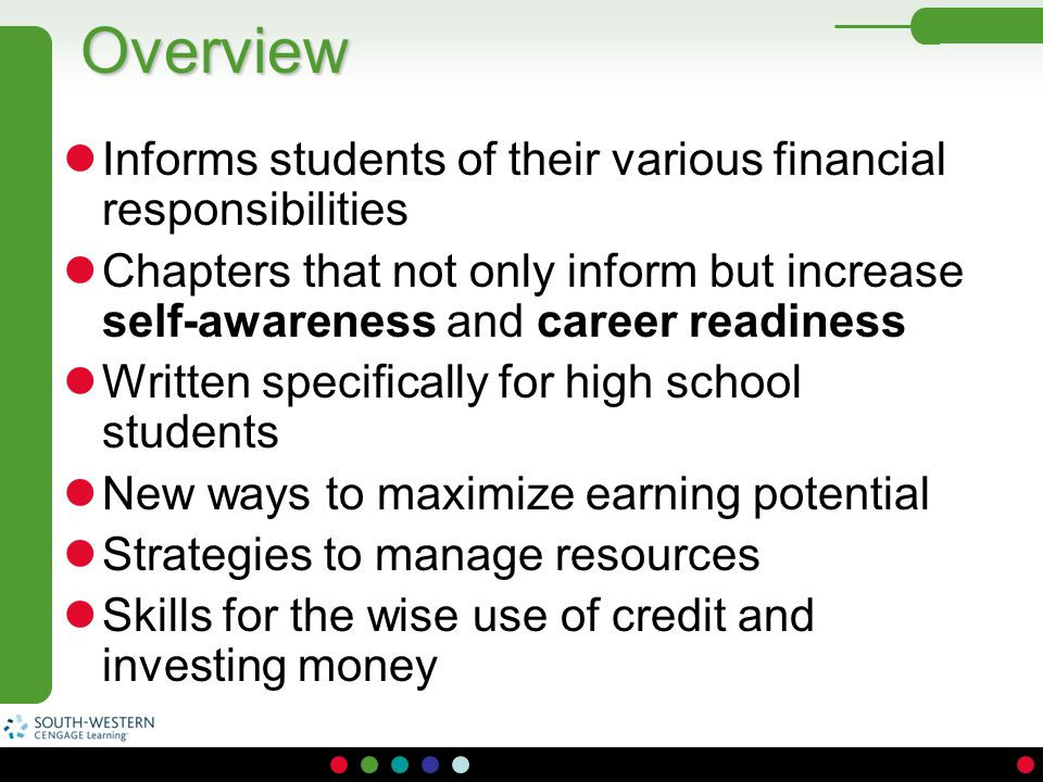 Overview Informs students of their various financial responsibilities