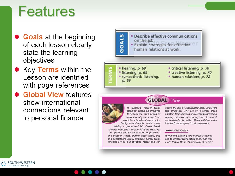 Features Goals at the beginning of each lesson clearly state the learning objectives.