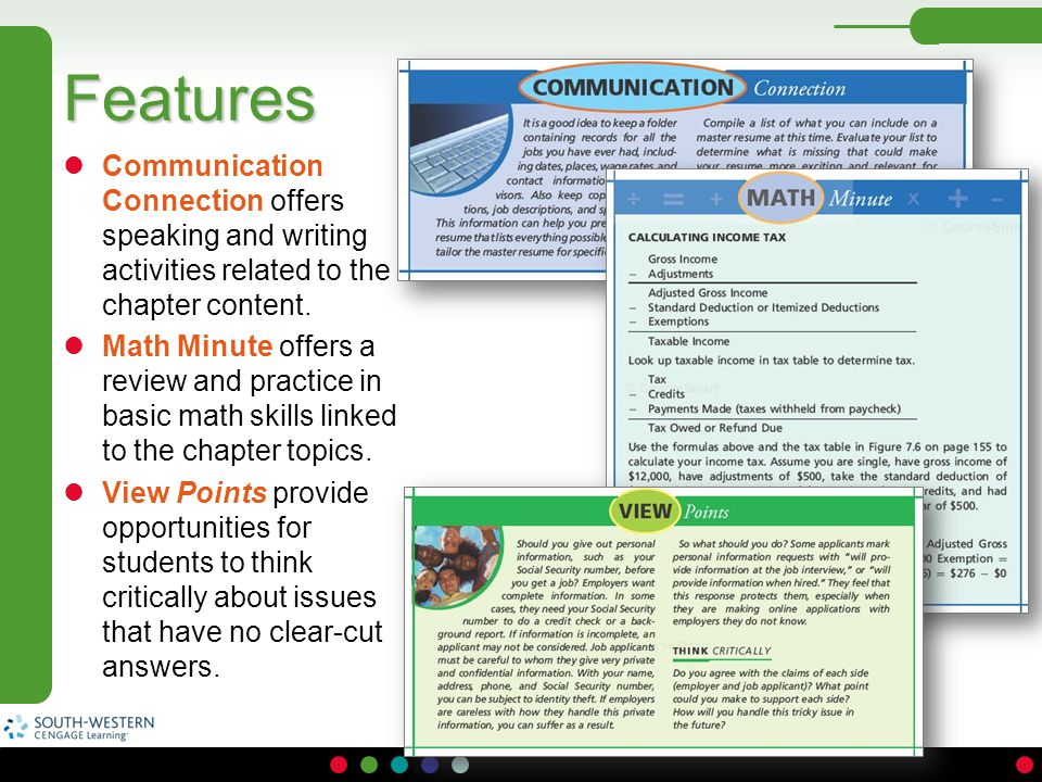 Features Communication Connection offers speaking and writing activities related to the chapter content.