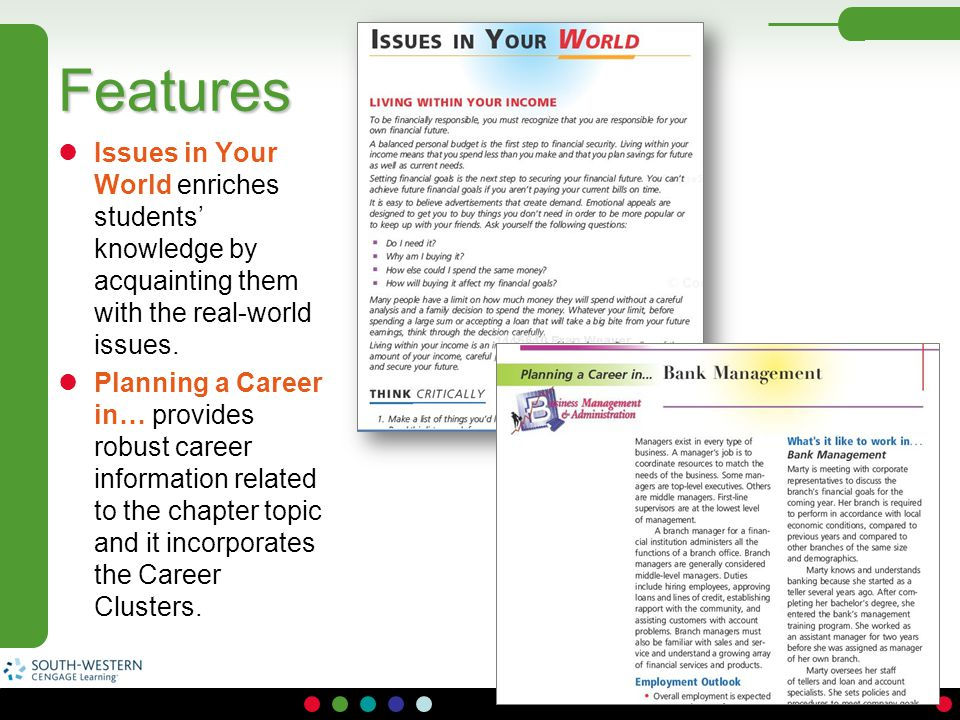 Features Issues in Your World enriches students' knowledge by acquainting them with the real-world issues.