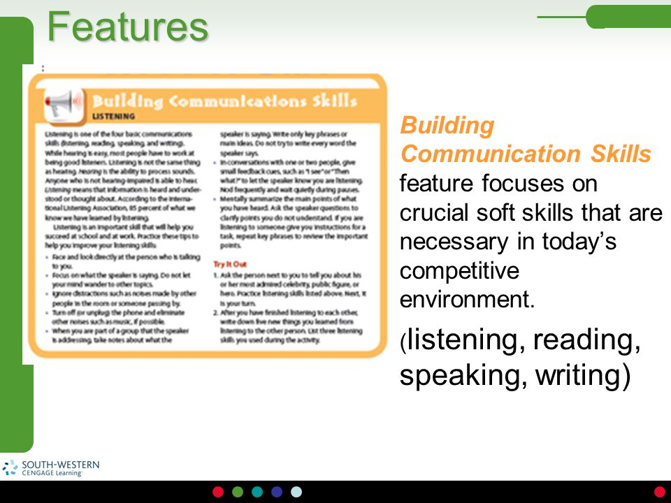 Features Building Communication Skills feature focuses on crucial soft skills that are necessary in today's competitive environment.