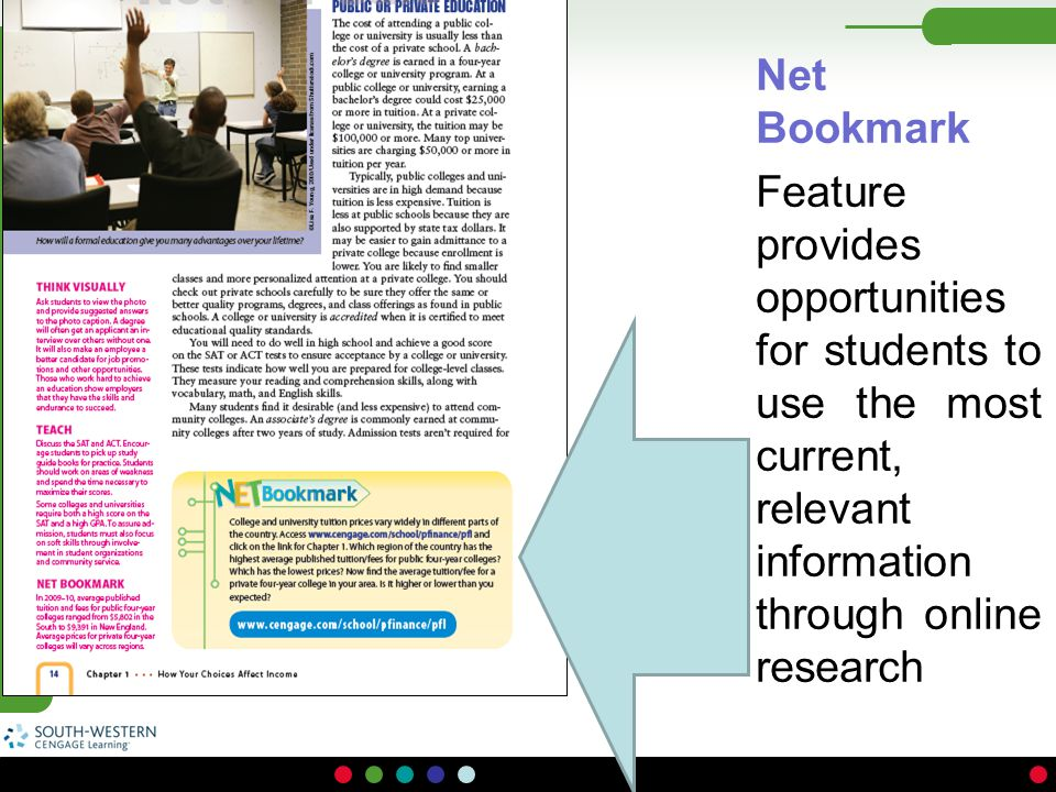 Net Bookmark Feature provides opportunities for students to use the most current, relevant information through online research