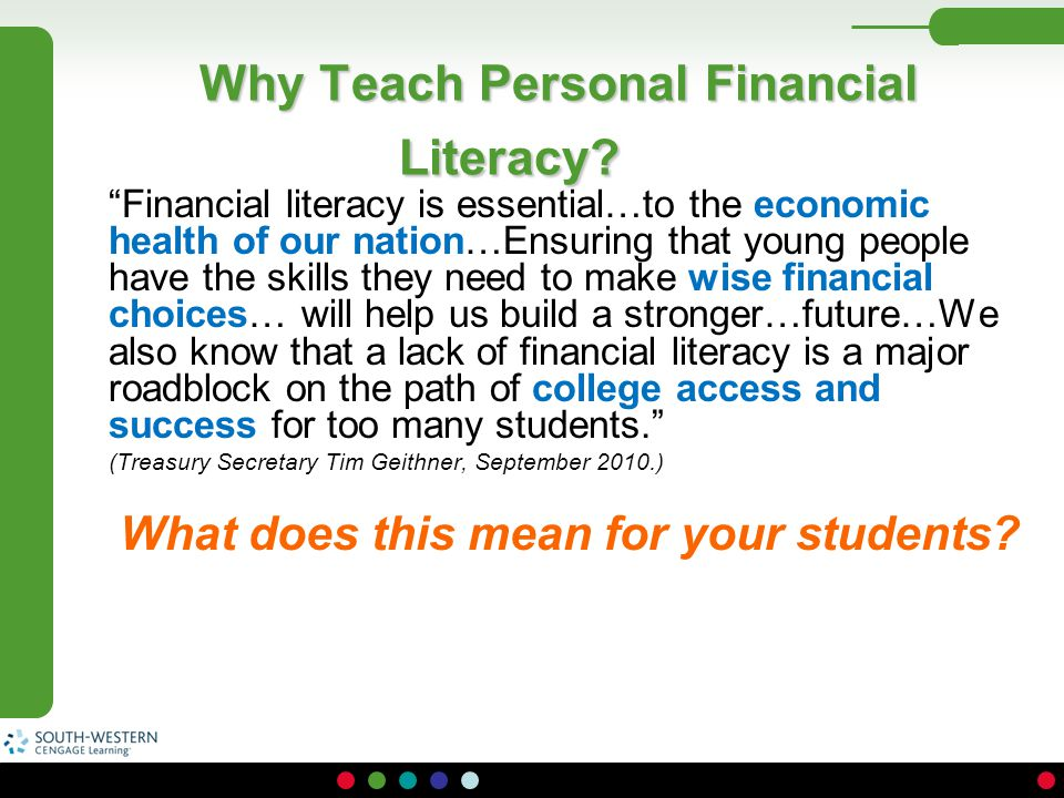 Why Teach Personal Financial Literacy