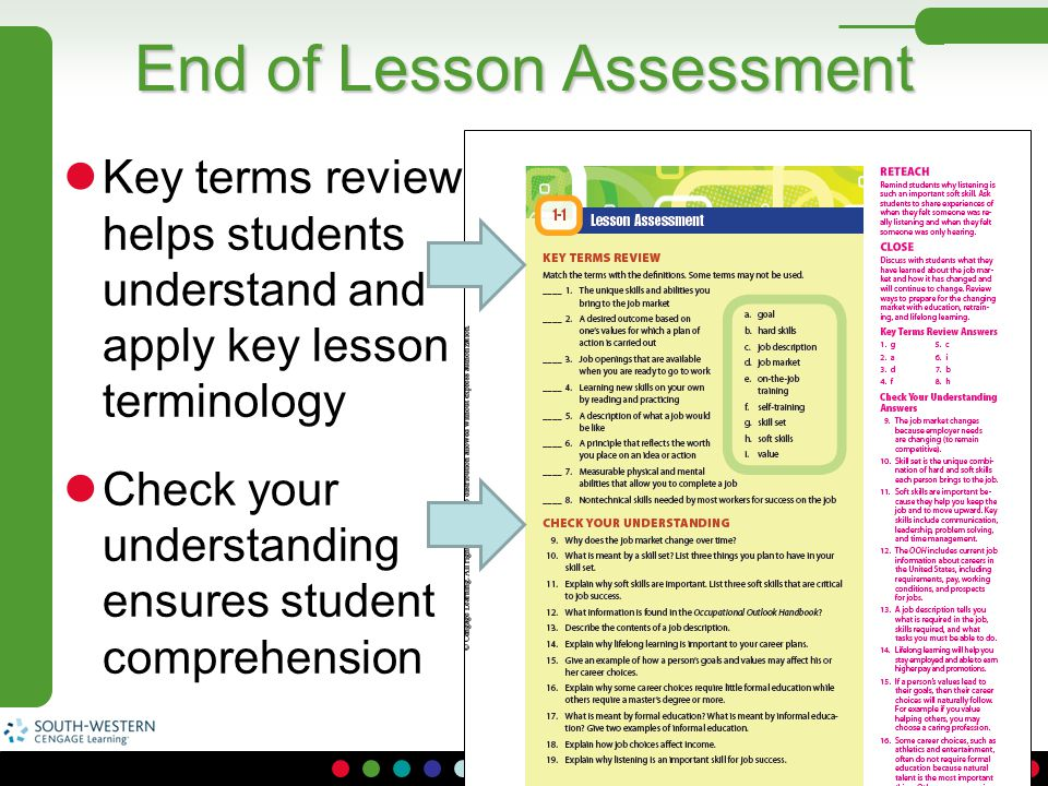 End of Lesson Assessment