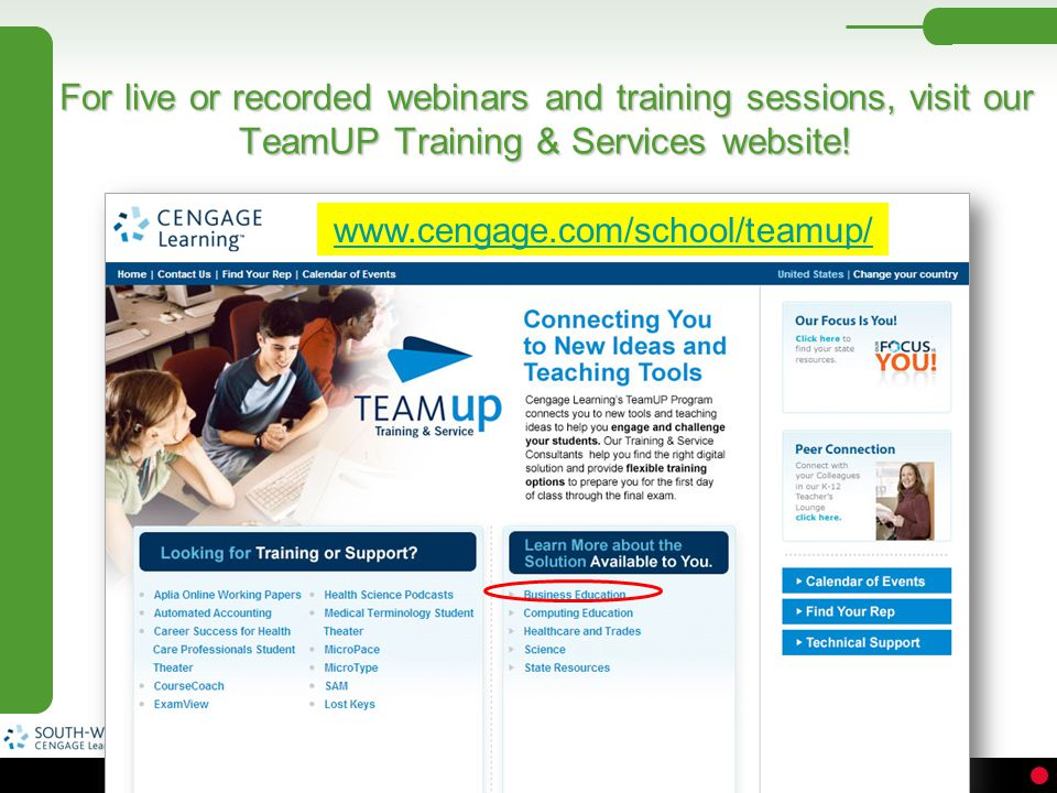 For live or recorded webinars and training sessions, visit our TeamUP Training & Services website!