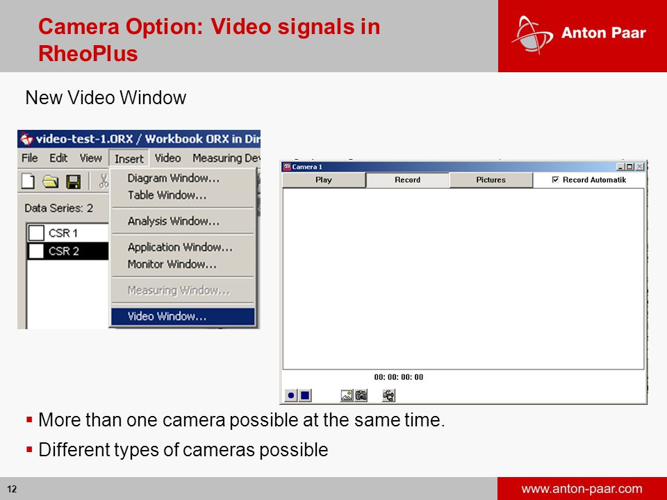 Camera Option: Video signals in RheoPlus