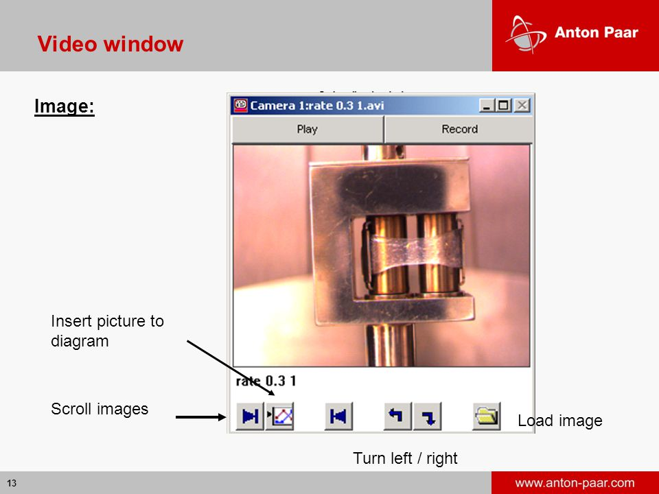 Video window Image: Insert picture to diagram Scroll images Load image
