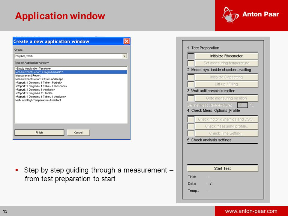 Application window Step by step guiding through a measurement –