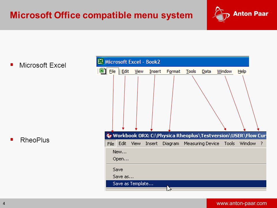 Microsoft Office compatible menu system