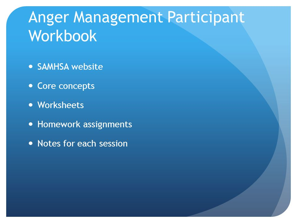 Anger Management Participant Workbook