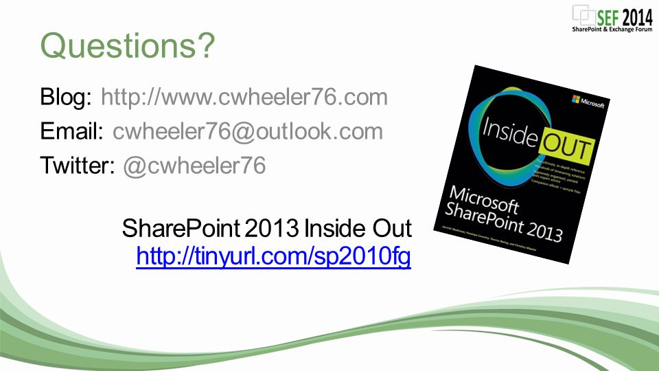 Questions SharePoint 2013 Inside Out http://tinyurl.com/sp2010fg