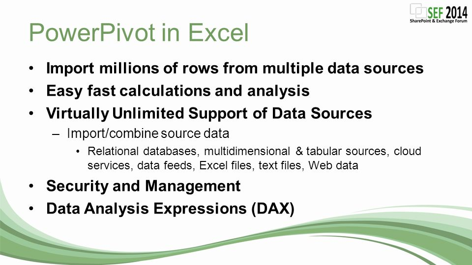 PowerPivot in Excel Import millions of rows from multiple data sources