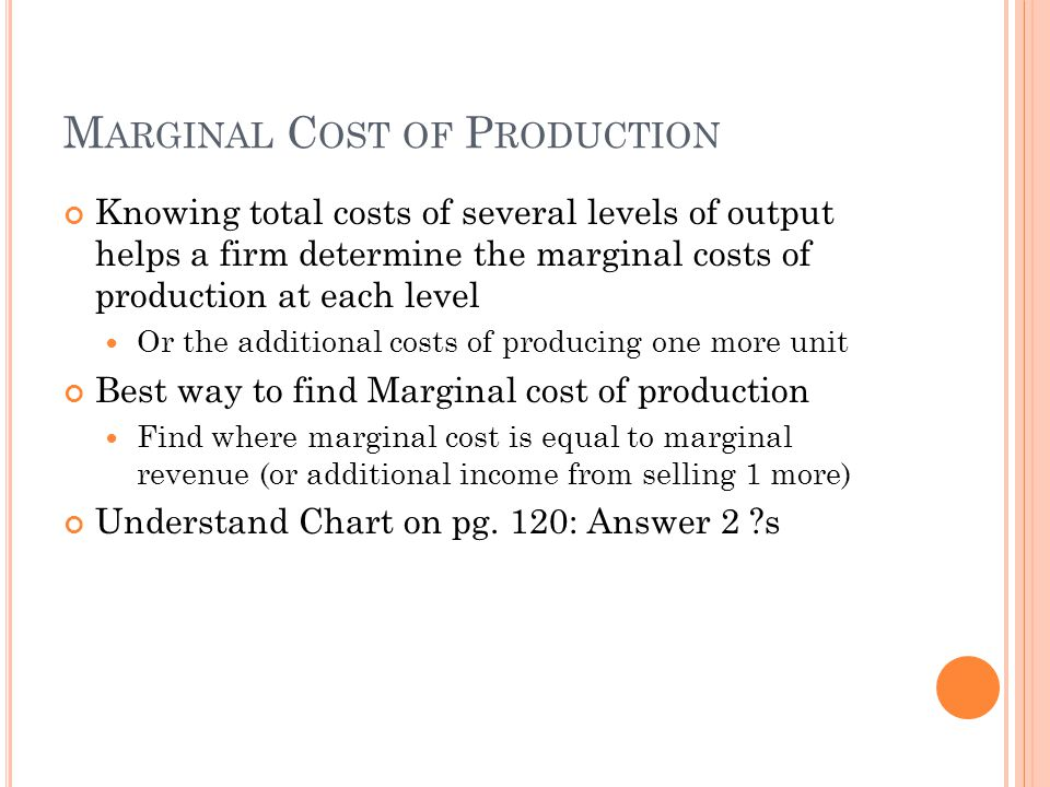 Marginal Cost of Production