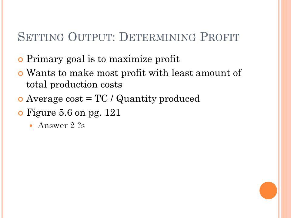 Setting Output: Determining Profit