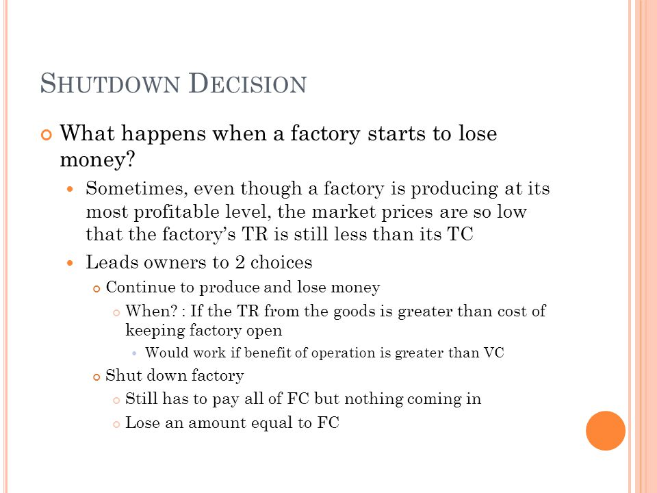 Shutdown Decision What happens when a factory starts to lose money