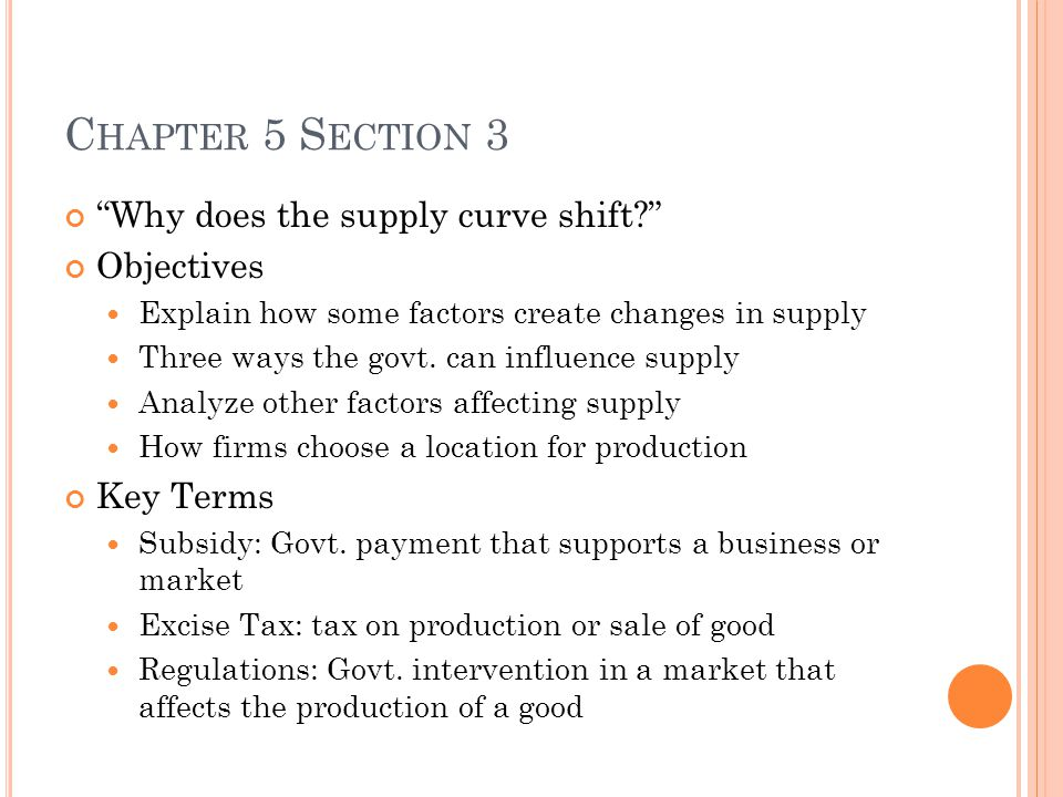 Chapter 5 Section 3 Why does the supply curve shift Objectives